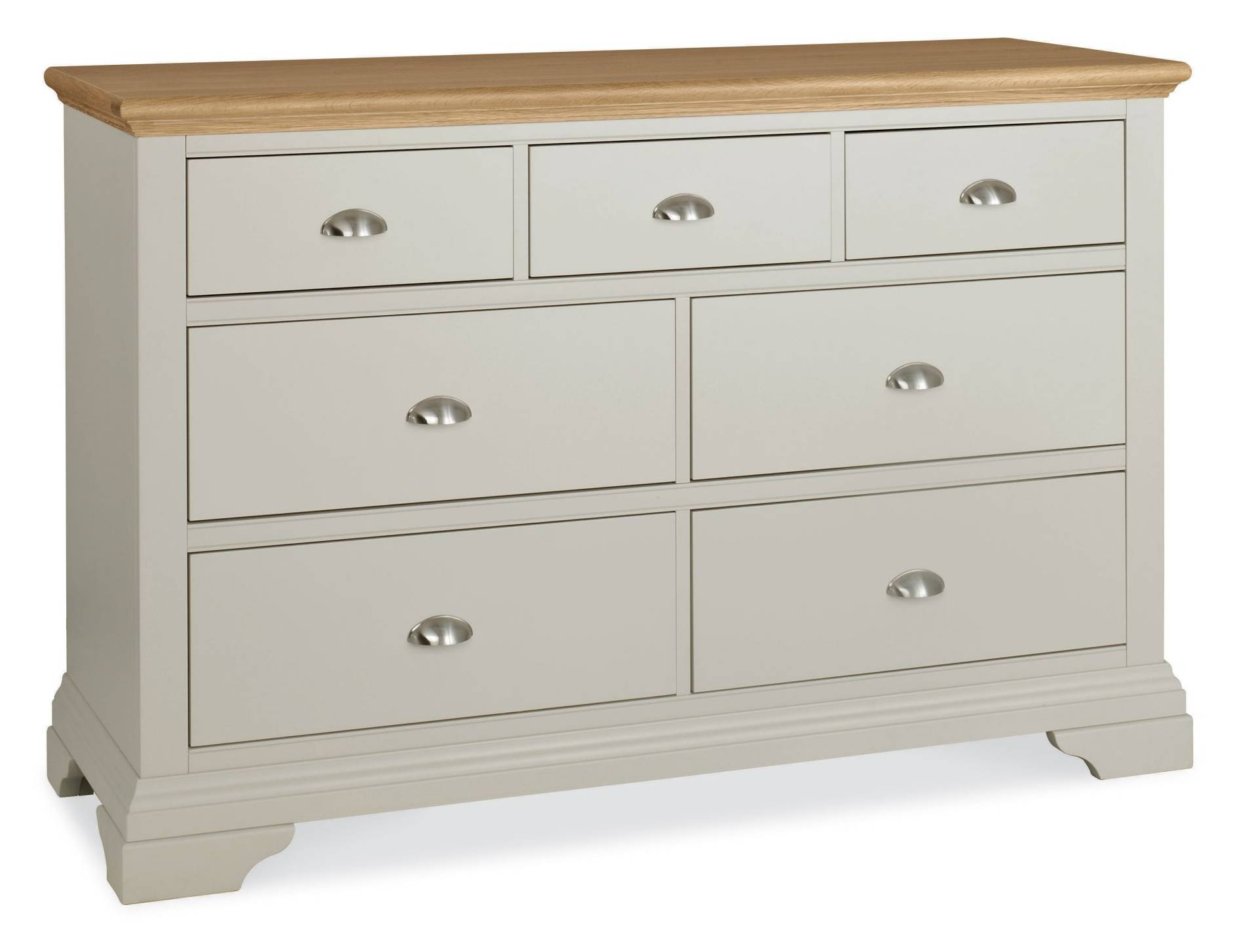 Fairford grey oak 3 4 drawer wide chest bedroom furniture hills furniture store for Bedroom furniture soft close drawers