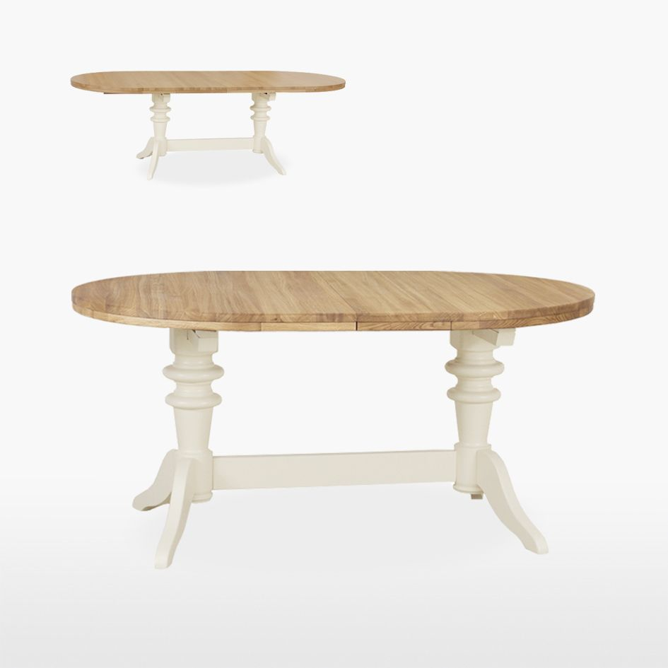 Round Extending Double Pedestal Table 2 Leaves Dining Tables