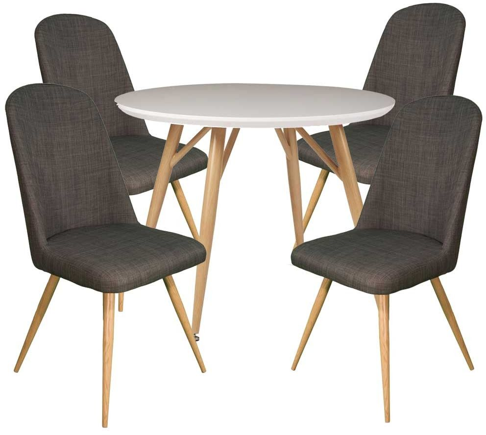 Dansk - Round Dining Table & 4 Cameo Slate Dining Chairs ...