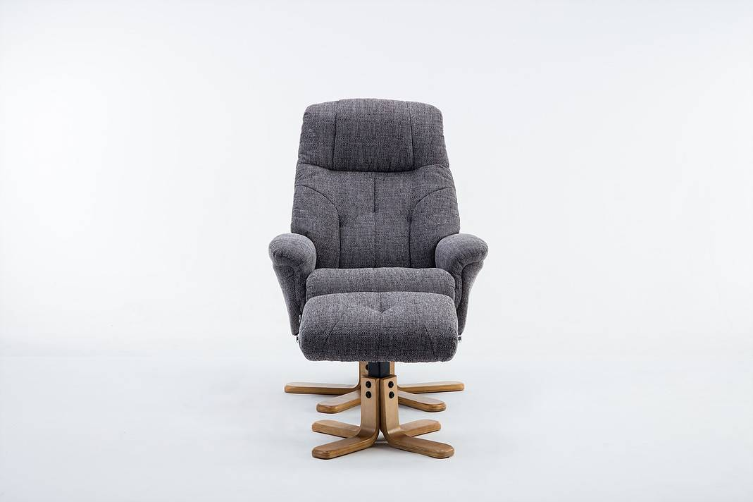 Magnificent Wexford Swivel Recliner Chair Footstool Fabric Lisbon Grey Dailytribune Chair Design For Home Dailytribuneorg