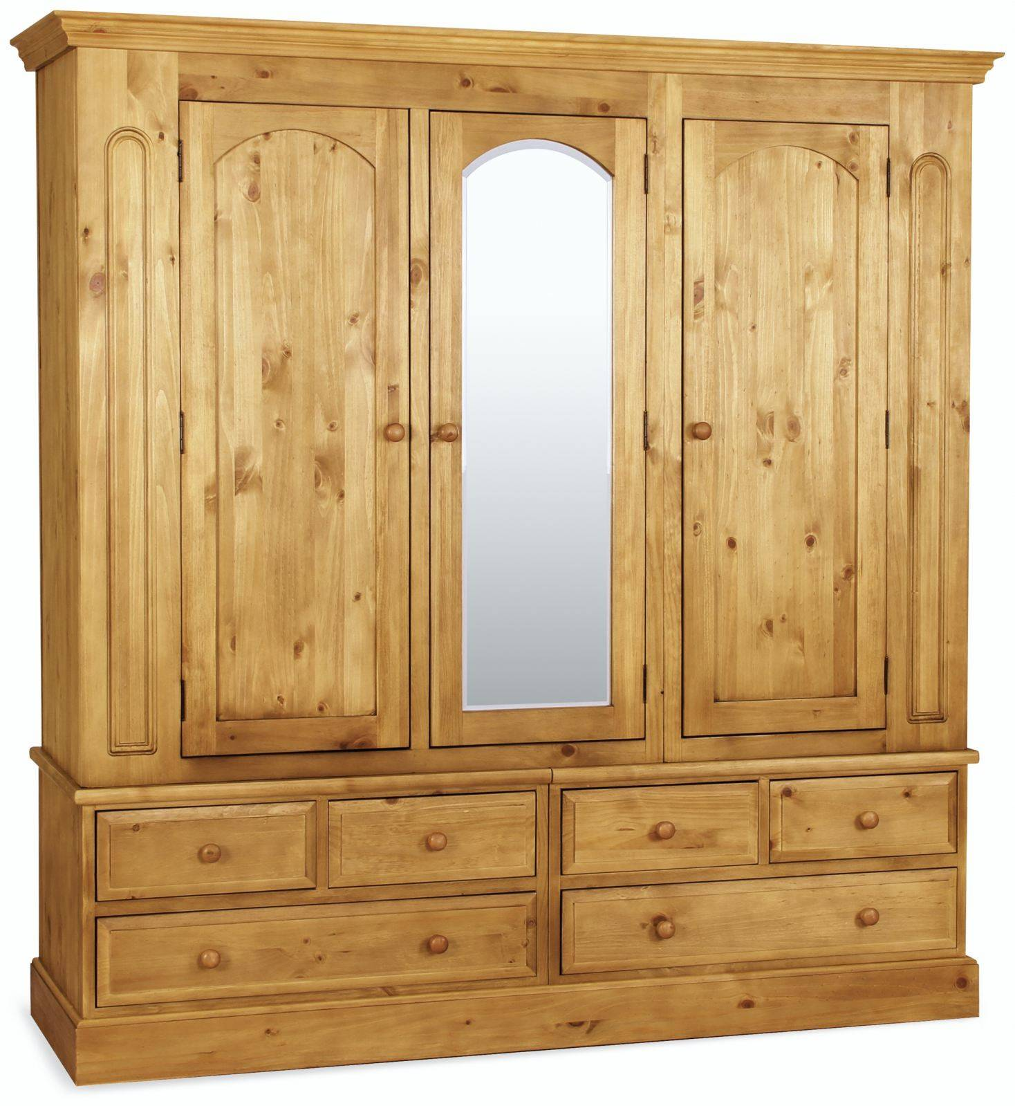 Country Pine Triple Wardrobe With Mirror Traditional Furniture Hills Furniture Store