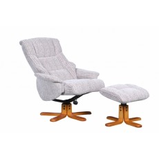 Sorrento Swivel Recliner Chair & Footstool Fabric Wheat