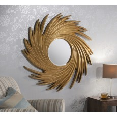 "1654 Gold Swirl 38"" Diam (97cm) Circle Bevel Mirror"