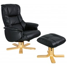 Rome Recliner Chair & Footstool Black & Natural Frame