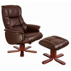 Rome Recliner Chair & Footstool Nut Brown & Cherry Frame