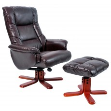 Rome Recliner Chair & Footstool Hazlenut & Cherry Frame