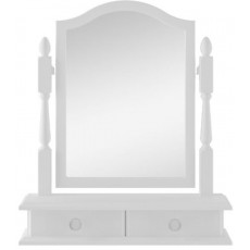 Signature White Single Bevelled Mirror with Drawers
