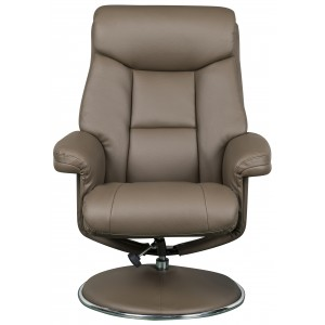 Toulouse -  Swivel Recliner Chair & Footstool Truffle Faux Leather