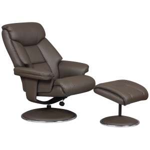 Toulouse -  Swivel Recliner Chair & Footstool Charcoal Faux Leather