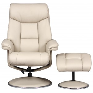 Toulouse -  Swivel Recliner Chair & Footstool Bone Faux Leather