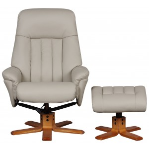 Monaco - Swivel Recliner Recliner & Footstool; Bone Faux Leather