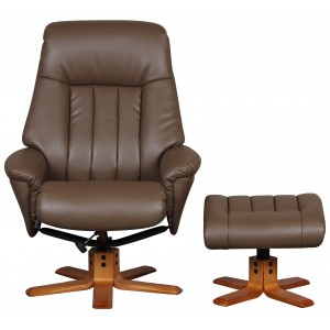 Monaco - Swivel Recliner Recliner & Footstool Truffle Faux Leather