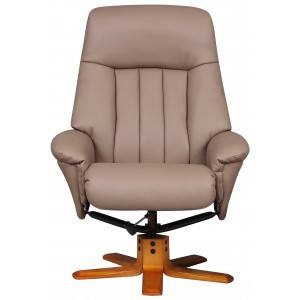 Monaco - Swivel Recliner Recliner & Footstool Earth Faux Leather