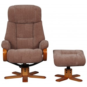 Paris - Swivel Recliner Chair & Footstool Fawn Fabric