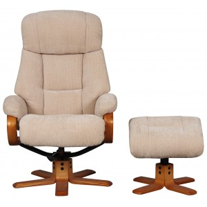 Paris - Swivel Recliner Chair & Footstool Dune Fabric