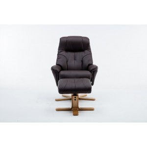 Wexford - Swivel Recliner Chair & Footstool Faux leather - Brown Plush