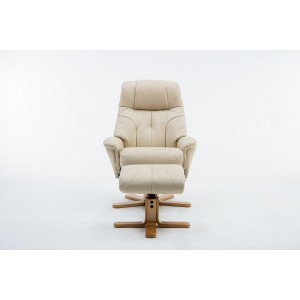 Wexford - Swivel Recliner Chair & Footstool  Faux Leather - Cream Plush