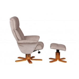Singapore - Swivel Recliner Chair & Footstool  Fabric Mist
