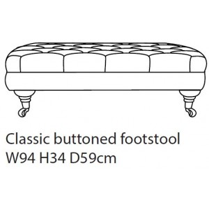 Classic Buttoned Footstool D Fabric