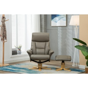Singapore Swivel Recliner and Footstool .  Faux Leather Grey