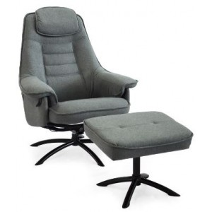 Magic Collection Swivel Recliner Chair - Complete With Footstool /Hendrix Fabric