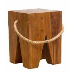Stylebook Collection Natural Teak Root Square Stool with Rope