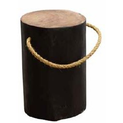 Stylebook Collection Natural Teak Root Round Black Stool with Rope