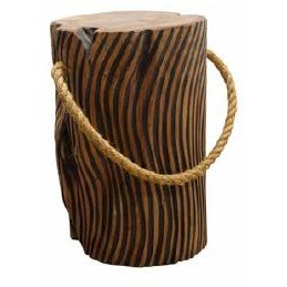 Stylebook Collection Natural Teak Root Tiger Stripe Stool with Rope