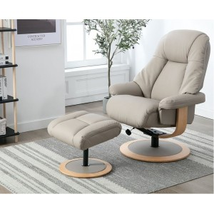Arlon Collection Swivel Recliner and Footstool Pebble Leather/Match