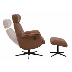 Irvine Swivel Chair Collection Swivel Recliner & Footstool - Tan Leather/Match - Black Star Base