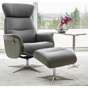 Irvine Swivel Chair Collection Swivel Recliner & Footstool - Charcoal Leather/Match - Chrome Star Ba