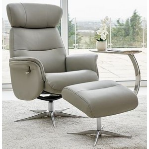 Irvine Swivel Chair Collection Swivel Recliner & Footstool - Husky Leather/Match - Chrome Star Base