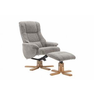Kelso Collection Swivel Recliner Chair & Footstool - Wheat Fabric - Autumn Oak Base