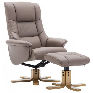 Elgin Collection Swivel Recliner Chair & Footstool - Earth - Mid Oak Star Base