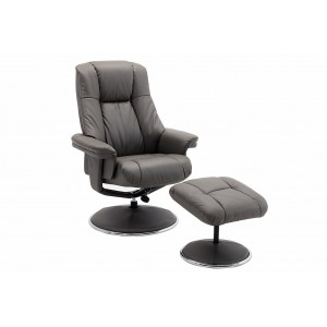 Tampa Swivel Recliner Collection Swivel Recliner and Footstool Granite/Chrome