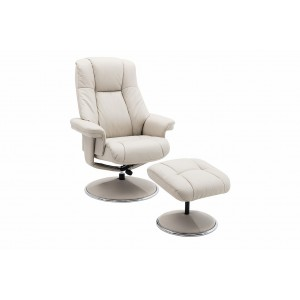 Tampa Swivel Recliner Collection Swivel Recliner and Footstool Mushroom/Chrome