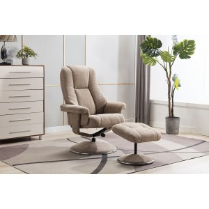 Tampa Swivel Recliner Collection Swivel Recliner and Footstool Biscotti/Chrome Trim