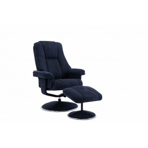 Tampa Swivel Recliner Collection Swivel Recliner and Footstool Midnight Blue/Chrome Trim