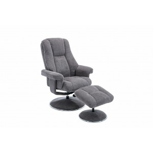 Tampa Swivel Recliner Collection Swivel Recliner and Footstool Ash/Chrome Trim