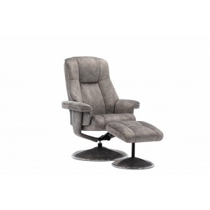 Tampa Swivel Recliner Collection Swivel Recliner and Footstool Elephant/Chrome Trim