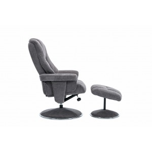 Tampa Swivel Recliner Collection Swivel Recliner and Footstool Liquorice/Chrome Trim