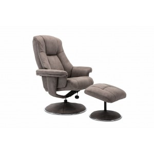 Tampa Swivel Recliner Collection Swivel Recliner and Footstool Rhino/Chrome Trim