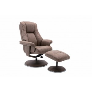 Tampa Swivel Recliner Collection Swivel Recliner and Footstool Pecan/Chrome Trim