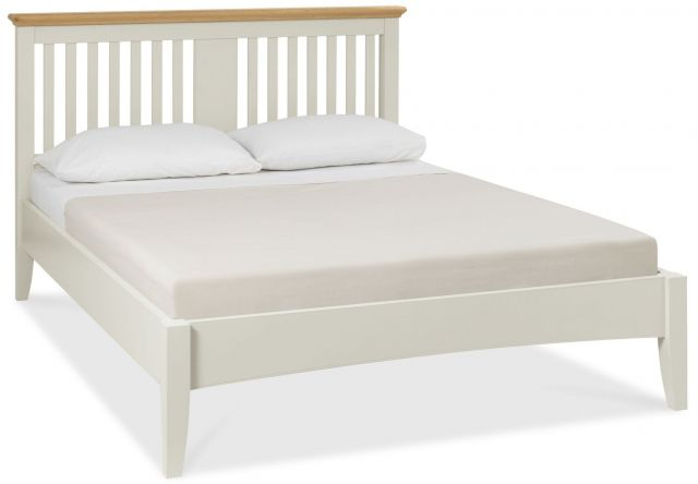 Fairford Soft Grey & Pale Oak 135cm Slatted Bedstead