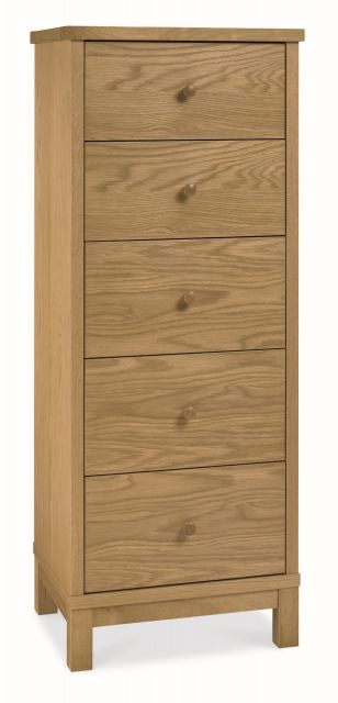 Chester Oak 5 Drawer Tall Chest