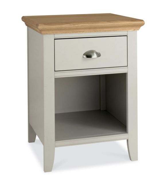 Fairford Soft Grey & Pale Oak 1 Drawer Nightstand