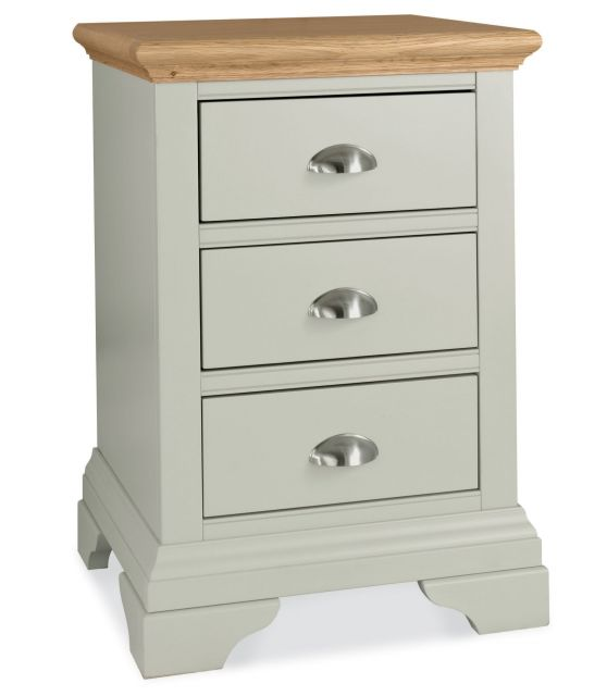 Fairford Soft Grey & Pale Oak 3 Drawer Nightstand