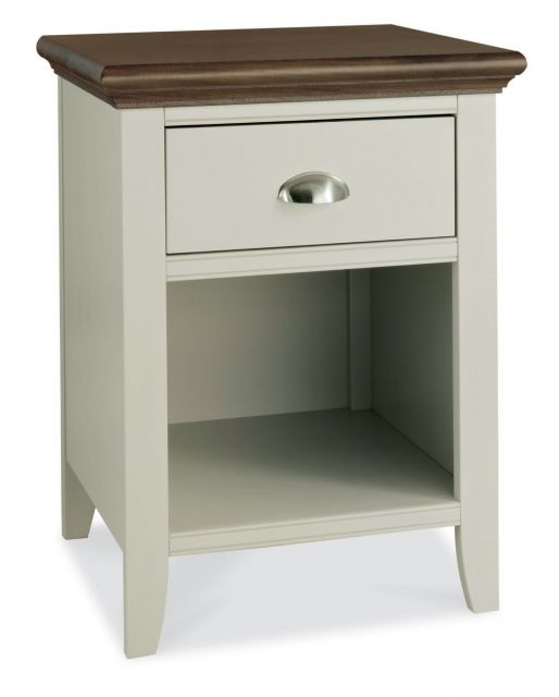 Fairford Soft Grey & Walnut 1 Drawer Nightstand