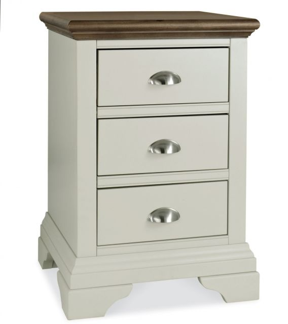 Fairford Soft Grey & Walnut 3 Drawer Nightstand
