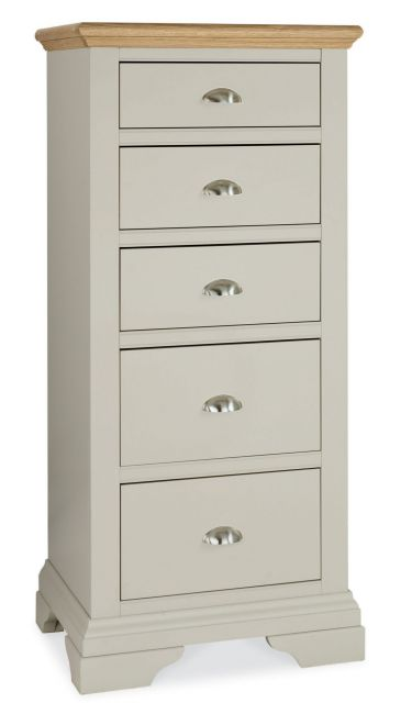 Fairford Soft Grey & Pale Oak 5 Drawer Tall Chest